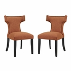 Modway Curve Dining Side Chairs Upholstered Fabric Set of 2 in Orange MY-EEI-2741-ORA-SET