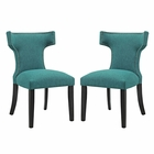 Modway Curve Dining Side Chairs Upholstered Fabric Set of 2 in Teal MY-EEI-2741-TEA-SET