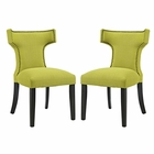 Modway Curve Dining Side Chairs Upholstered Fabric Set of 2 in Wheatgrass MY-EEI-2741-WHE-SET