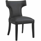 Modway Curve Faux Leather Dining Chair in Black MY-EEI-2220-BLK