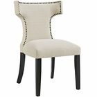 Modway Curve Upholstered Fabric Dining Chair in Beige MY-EEI-2221-BEI