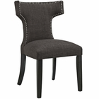 Modway Curve Upholstered Fabric Dining Chair in Brown MY-EEI-2221-BRN