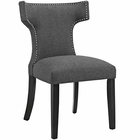 Modway Curve Upholstered Fabric Dining Chair in Gray MY-EEI-2221-GRY