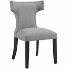 Modway Curve Upholstered Fabric Dining Chair in Light Gray MY-EEI-2221-LGR
