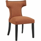 Modway Curve Upholstered Fabric Dining Chair in Orange MY-EEI-2221-ORA