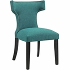 Modway Curve Upholstered Fabric Dining Chair in Teal MY-EEI-2221-TEA