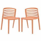 Modway Curvy Dining Chairs Set of 2 in Orange MY-EEI-935-ORA