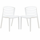 Modway Curvy Dining Chairs Set of 2 in White MY-EEI-935-WHI
