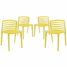 Modway Curvy Dining Chairs Set of 4 in Yellow MY-EEI-1315-YLW