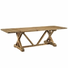 Modway Den Extendable Pine Wood Dining Table in Brown MY-EEI-2651-BRN-SET