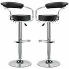 Modway Diner Bar Stools Faux Leather Set of 2 in Black MY-EEI-930-BLK