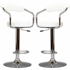 Modway Diner Bar Stools Faux Leather Set of 2 in White MY-EEI-930-WHI