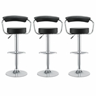 Modway Diner Bar Stools Leather Set of 3 in Black MY-EEI-931-BLK