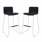 Modway Dive Bar Stool Faux Leather Set of 2 in Black MY-EEI-1688-BLK