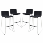 Modway Dive Bar Stool Faux Leather Set of 4 in Black MY-EEI-1687-BLK