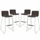 Modway Dive Bar Stool Faux Leather Set of 4 in Brown MY-EEI-1687-BRN