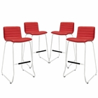 Modway Dive Bar Stool Faux Leather Set of 4 in Red MY-EEI-1687-RED