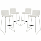 Modway Dive Bar Stool Faux Leather Set of 4 in White MY-EEI-1687-WHI