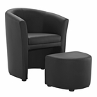 Modway Divulge Faux Leather Armchair and Ottoman in Black MY-EEI-1407-BLK