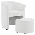 Modway Divulge Faux Leather Armchair and Ottoman in White MY-EEI-1407-WHI