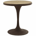 "Modway Drive 28"" Round Pine Wood Top and Iron Dining Table in Brown MY-EEI-2006-BRN-SET"