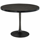 "Modway Drive 40"" Round Pine Wood and Iron Dining Table in Black MY-EEI-1197-BLK-SET"