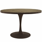 "Modway Drive 47"" Oval Pine Wood Top and Iron Dining Table in Brown MY-EEI-2009-BRN-SET"