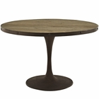 "Modway Drive 48"" Round Pine Wood Top and Iron Dining Table in Brown MY-EEI-2004-BRN-SET"