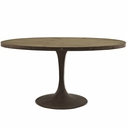 "Modway Drive 60"" Oval Pine Wood Top and Iron Dining Table in Brown MY-EEI-2008-BRN-SET"