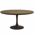 "Modway Drive 60"" Round Pine Wood Top and Iron Dining Table in Brown MY-EEI-2005-BRN-SET"