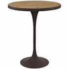 Modway Drive Pine Wood and Iron Bar Table in Brown MY-EEI-2652-BRN-SET