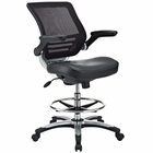 Modway Edge Faux Leather Drafting Chair in Black MY-EEI-211-BLK