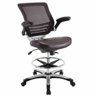 Modway Edge Faux Leather Drafting Chair in Brown MY-EEI-211-BRN