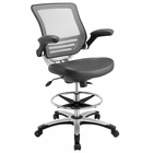 Modway Edge Faux Leather Drafting Chair in Gray MY-EEI-211-GRY