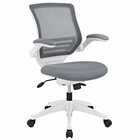 Modway Edge Mid Back White Base Office Chair in Gray MY-EEI-596-GRY