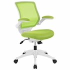 Modway Edge Mid Back White Base Office Chair in Green MY-EEI-596-GRN