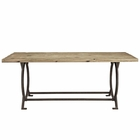 Modway Effuse Rectangle Pine Wood Top Dining Table in Brown MY-EEI-1205-BRN