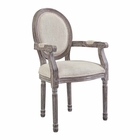 Modway Emanate Vintage French Upholstered Fabric Dining Armchair in Beige MY-EEI-2823-BEI