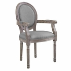 Modway Emanate Vintage French Upholstered Fabric Dining Armchair in Light Gray MY-EEI-2823-LGR