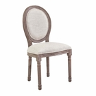 Modway Emanate Vintage French Upholstered Fabric Dining Side Chair in Beige MY-EEI-2821-BEI