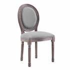 Modway Emanate Vintage French Upholstered Fabric Dining Side Chair in Light Gray MY-EEI-2821-LGR