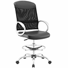 Modway Emblem Mesh and Vinyl Mesh and Faux Leather Drafting Chair in Black MY-EEI-2864-BLK