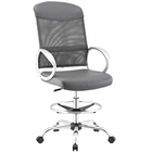 Modway Emblem Mesh and Vinyl Mesh and Faux Leather Drafting Chair in Gray MY-EEI-2864-GRY