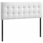 Modway Emily King Tufted Faux Leather Headboard in White MY-MOD-5175-WHI