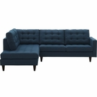 Modway Empress 2 Piece Upholstered Fabric Left Facing Bumper Sectional in Azure MY-EEI-2798-AZU