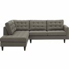 Modway Empress 2 Piece Upholstered Fabric Left Facing Bumper Sectional in Granite MY-EEI-2798-GRA