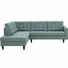 Modway Empress 2 Piece Upholstered Fabric Left Facing Bumper Sectional in Laguna MY-EEI-2798-LAG