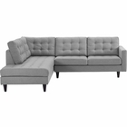 Modway Empress 2 Piece Upholstered Fabric Left Facing Bumper Sectional in Light Gray MY-EEI-2798-LGR