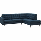Modway Empress 2 Piece Upholstered Fabric Right Facing Bumper Sectional in Azure MY-EEI-2797-AZU