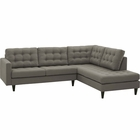 Modway Empress 2 Piece Upholstered Fabric Right Facing Bumper Sectional in Granite MY-EEI-2797-GRA